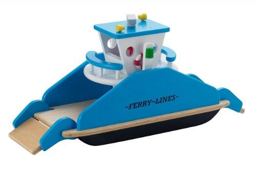 Fährschiff mit 2 beweglichen Auffahrrampen / Material: Holz / Maße: 43 x 19 x 22,5 cm / für Kinder ab 3 Jahren geeignet
