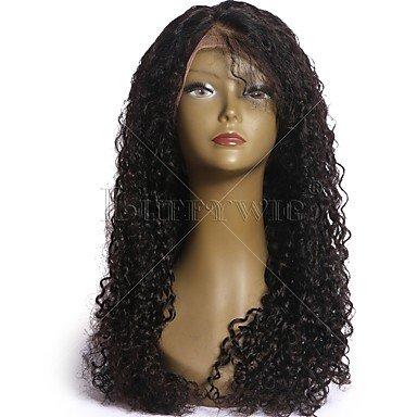 Spitze Perücke Echthaar Hair Lace Front klebefreien Lace Front 130% Dichte gewellt Deep Wave Curly Weave Jerry Curl Afro lockig Kinky, 130% (Jerry Curl Perücke)