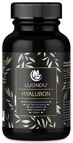 Hyaluronsäure Kapseln - Besonders hochdosiert: 500mg pro Kapsel - 90 Stück (3 Monate) Hyaluron Tabletten mit 500-700 kDa - Laborgeprüft, Vegan, hergestellt in DE