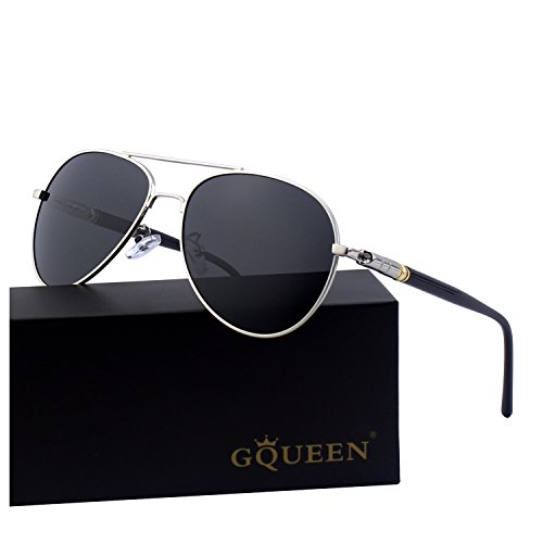 GQUEEN Sonnenbrille Polarisiert Piloten Sonnenbrille Pilot Flieger Pilotenbrille Herren MTZ9