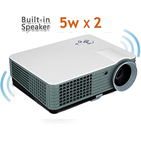Excelvan RD-801 2000 lúmenes Proyector (HD Home LED, Multimedia Proyector Cine Teatro Laptop, 1080P HDMI, TDT ,VGA , DTV) - Blanco