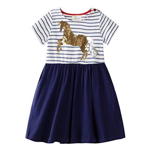Mädchen Baumwolle Kurze Ärmel Kleid Lässiger süßer Drucken T-Shirt Kleid 1-7 Jahre (4-5 Jahre, Blau)