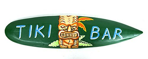 Rustikal Hand Made Tiki Bar Schild mit Polynesische Hawaiian Maske Surfbrett Shark Bite