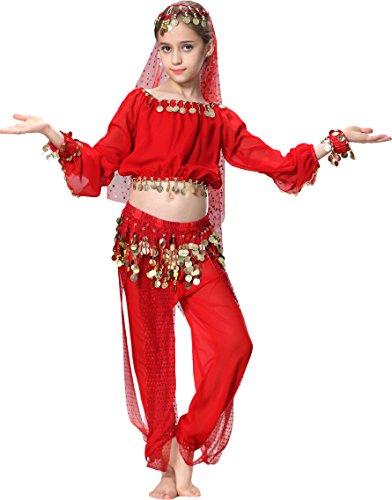 Karneval Kinder Mädchen Langarm Bauchtanz Kostüm (Indische Kostüme Tanz Bollywood)