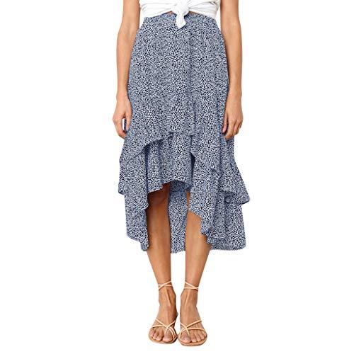 beautyjourney Faldas Vintage para Mujer, Falda Larga Elegante De Cintura Alta Falda Rockabilly con Estampado de Punto Largo y Dobladillo asimétrico