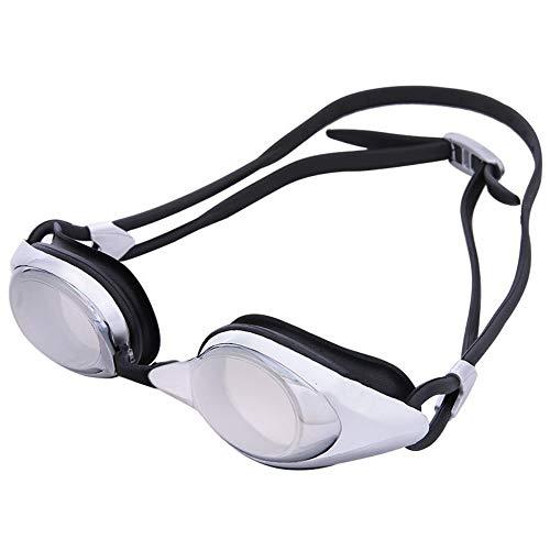 MHP Schwimmbrille Unisex verchromte Linse reflektierende wasserdichte Anti-Fog- und Anti-UV-Schwimmbrille, schwarz -