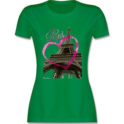 Städte - I love Paris - tailliertes Premium T-Shirt mit Rundhalsausschnitt für Damen Grün