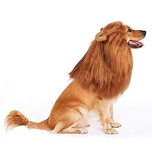 Bascolor Hund Löwenmähne Halloween Kostüm Festival Party Fasching Kleidung Haar mit Ohren Schwanz für mittelgroße bis große Hunde