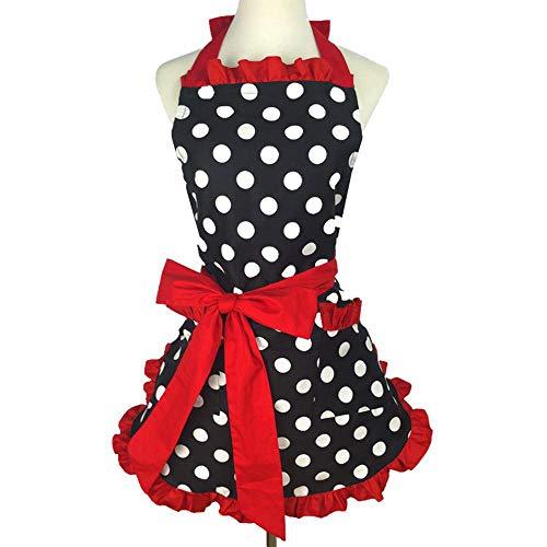 AOLVO Vintage Küchenschürzen, schöne Spitzenbesatz, gepunktet, Schürze aus Baumwolle mit Taschen, Kochen Salon Kleid für Mädchen und Frauen, tolles Geschenk rot -