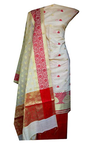 Nakshatra Multicolor_Banarasi Chanderi Silk Fabric Latest Design Party Wear Unstitched Dress Material of Salwar Suit for Women