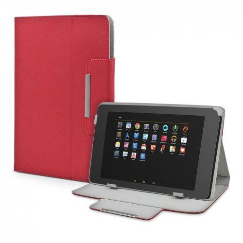 ROYALZ Schutz Tasche für Alcatel 1T 7 Hülle Schutzhülle Case Cover Schutztasche Stand-Funktion Leder-Optik, Farbe:Rot