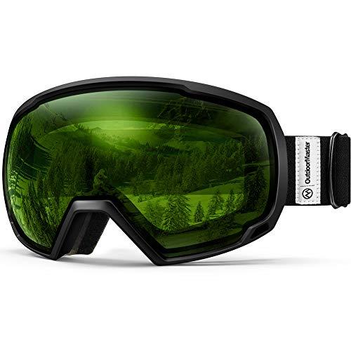 OutdoorMaster Premium Skibrille, Snowboardbrille Schneebrille OTG 100% UV-Schutz, Helmkompatible Ski Goggles für Damen&Herren/Jungen&Mädchen(Schwarzer Rahmen + VLT 80% hellgrünes Linse)