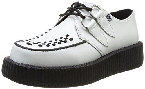 T.U.K.Low Sole Round Creeper - Zeppa Unisex - Adulto Blanc (White/Black Interlace)