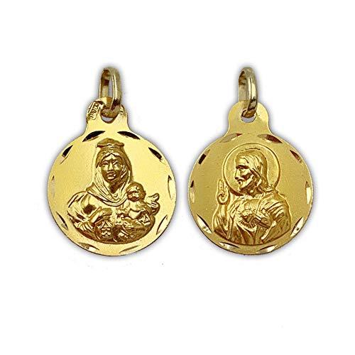 Medalla Religiosa - Medalla escapulario Sagrado Corazón y Virgen del Carmen, Redonda 13 mm. Oro de 18 K (750 milésimas).