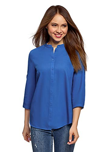 Oodji collection donna camicia in cotone con collo alla coreana, blu, it 50 / eu 46 / xxl