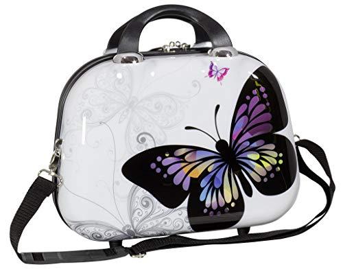 Trendyshop365 Hartschale Beautycase für Damen Design Butterfly Schmink-Koffer