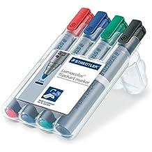 Staedtler Lumocolor 356 WP4 Flipchart-Marker, farbintensiv, geruchsarm, Rundspitze ca. 2 mm Linienbreite, hohe Qualität, ideal für Flipchart-Blöcke, Set mit 4 Farben