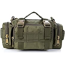 Contever® Deportes Cangurera / Bolso de la Cintura de la cámara - Multifunción Hombro Bolsa / Paquete / Equipaje Waist-Bag BackPack para Actividades al aire libre (Verde oscuro)