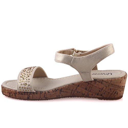 Unze Girls ' Leone ' Flat Shimmery Sommer Sandalen - 07088-2 Gold