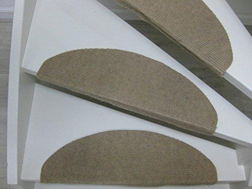 15 Tappeti per scalini - passatoie per singoli gradini Lilongwe 65x25cm blu, antracit, beige (beige)