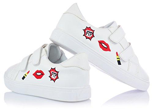 Damen Mädchen Low-Top Sneaker Freizeitschuhe mit Klettverschluss Gr. 32-37 Weiß