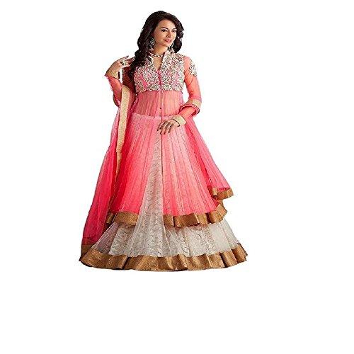 Indian Stylish Designer Bollywood Party White Lehenga Choli Gown Salwar Suit