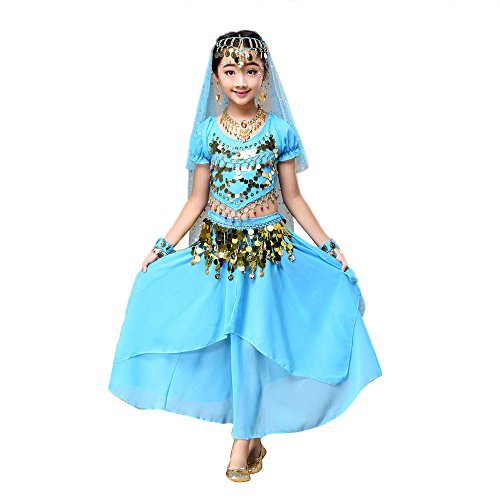 LHWY Kinder Mädchen Kleider Kinder Kostüm Bauchtanz Outfit Festlich Schöne Kostüm Indien Tanzkleidung Tops + Lang Maxi Rock Sommerkleid -