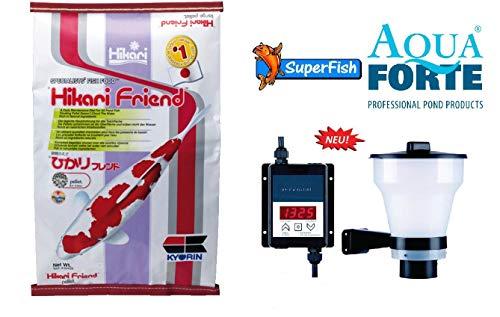 Hikari 10 kg Friend medium Pellets Koifutter + AquaForte Super-Fish Feeder Fisch-Futterautomat im Vorteils-Set