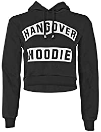 Catch One Womens Ladies Hangover Print Hoodie Hoody Sweatshirt Crop Top Charcoal Grey SM