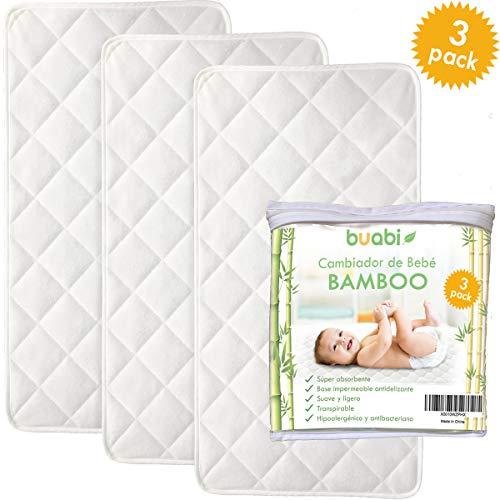 Buabi Set 3 Wickelunterlagen für Unterwegs, tragbare Wickelunterlage für Babys. Bambus Hypoallergen, antibakteriell und atmungsaktiv, mit wasserdichter rutschfester Basis -