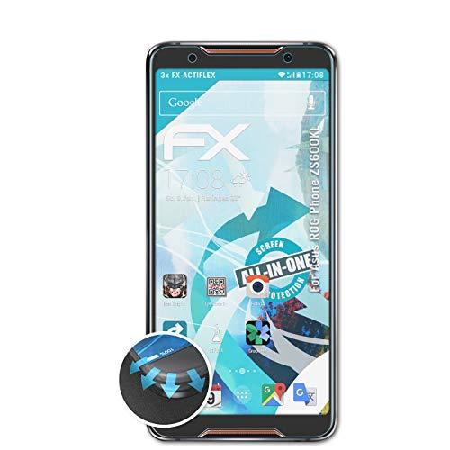 atFolix Schutzfolie passend für Asus ROG Phone ZS600KL Folie, ultraklare & Flexible FX Bildschirmschutzfolie (3X)