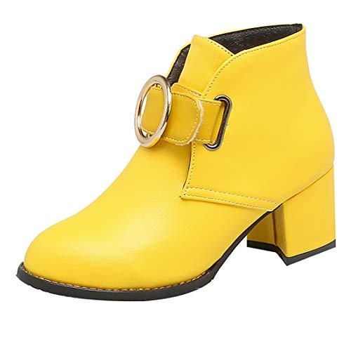 YE Damen Chunky Heel Ankle Boots Blockabsatz Stiefeletten Klettverschluss Stiefel Kurzschaft Warme...