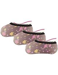 Graceway Women Cotton Footsie Socks - Set of 3 (Multi-Coloured)