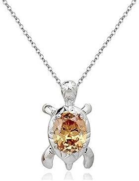 Schildkröte Halskette Anhänger mit Orange Österreichische Zirkonia Kristalle 18 kt Weiß Vergoldet für Damen und...