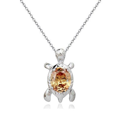 Schildkröte Halskette Anhänger mit Orange Österreichische Zirkonia Kristalle 18 kt Weiß Vergoldet für Damen und Kinder 45 cm