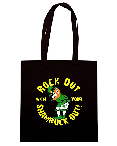 T-Shirtshock - Borsa Shopping TIR0170 rock out with your shamrock out dark tshirt Nero