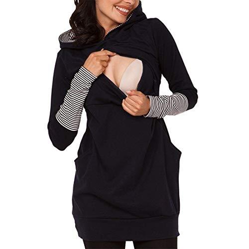 Zhhlaixing Casual Umstandsmode Maternity T-Shirt Stillzeit Top für Damen - Zweilagiges Baumwolle Schwanger T-Shirt Langarmshirt, Size L-2XL