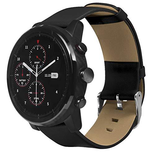 Cinturino cinturino in pelle compatibile con Amazfit Stratos / HUAMI compatibile con Xiaomi Amazfit Pace Smartwatch, cinturino di...