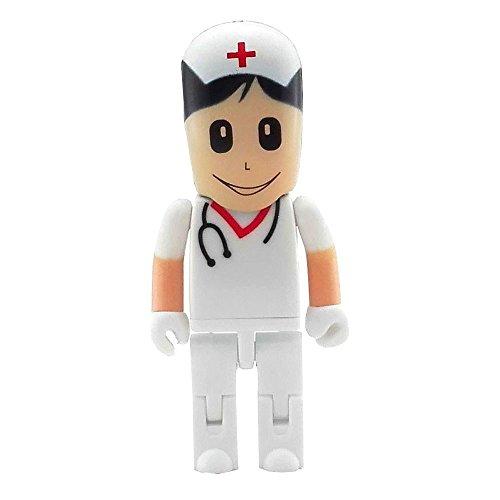 Aneew USB-Stick in Krankenschwester-Form, 32 GB, Pink, Roboter, Ärztin Weiß Krankenschwester 32 GB