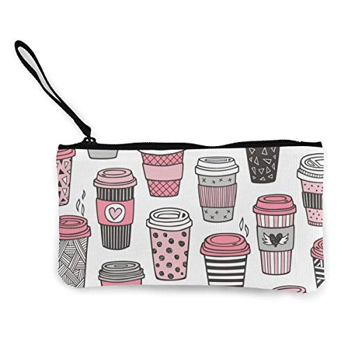 Coffee Latte Geometric Multifunctional Portable Canvas Coin Purse Phone Pouch Cosmetic Bag,Zippered Wristlets Bag