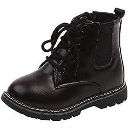 Botas Militares Cuero Nieve para Unisex Niños Niñas Invierno Moda PAOLIAN Botines Planos con Cordones Zapatos Camuflaje Bebe niños Otoño Calzado Piel sintética Zapatillas Deportivo