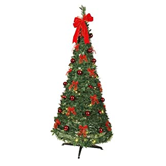 Best Season 603-90 – Árbol de navidad decorado con luces LED (tamaño aproximado: 190 x 80 cm, 80 luces LED con 8 funciones, decoración roja)