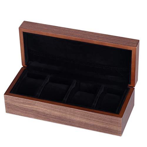 DQ-Uhrenbox 4 Gitter aus echtem Holz Schmuck Vitrine komplett mit Walnuss Furnier Ring Taschenuhr Display Aufbewahrungsbox