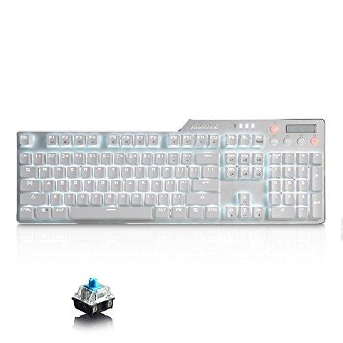Ajazz ak35i Ergonomische Gaming Tastatur mit 104Full-Schlüssel + 6Spezielle Tasten/Weiß LED-Hintergrundbeleuchtung USB Wired Mechanische Tastatur/Blau Schalter/Weiß -