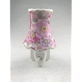Porcelain Pink Flower Floral Plug In Night Light Nightlight LED bulb