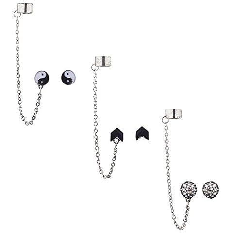 LUX Zubehör Silber Ton Boho Ying Yang Kette Multi Ohrring Ohr Manschette Set 3