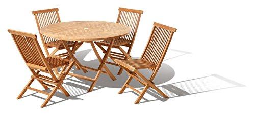 Java Teak-klappstuhl (Java Teak Islington aus massivem Teakholz rund Garten Patio-Möbel Set)