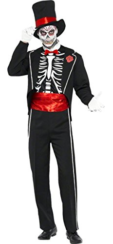 erdbeerloft - Herren Day of the Dead Kostüm, Jacke mit Hut, Halloween, Mehrfarbig, Größe (Street Erwachsene Herren Zombie Kostüme)