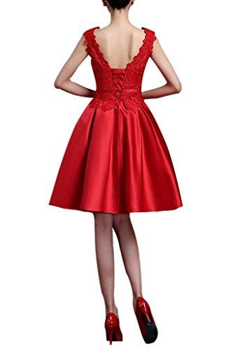 Charmant Damen Rot Satin Spitze A-linie Kurz Abendkleider Ballkleider Partykleider Knie-lang Festlich Hell Olive