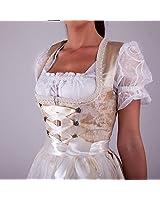 My Trachten Stadl Beige mit Muster Dirndl Oktoberfest 2 tg Set | Oktoberfest 2019 (Größe 34-Taillenumfang-72cm, Brustumfang-86cm)